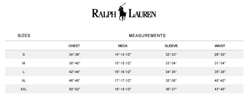 Polo ralph lauren t shirt size chart online Tiverton – best women ...